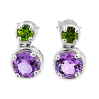 EARTH MINED 6MM AFRICAN AMETHYST CHROME DIOPSIDE STERLING SILVER 925 EARRING