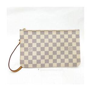 Louis Vuitton LV Hand Bag 31MF450 Neverfull Pouch Whites Damier Azur 1521134