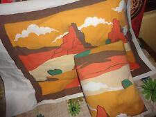 VINTAGE SOUTHWESTERN CACTUS ROCKS ORANGE BROWN GREEN SCENIC (2PC) TWIN SHEET SET