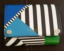 New Henri Bendel Bowery Centennial Stripe Trifold Snap Wallet