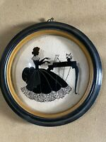 "Vintage Reverse Painted Silhouette ""Female At Piano Scene"" Curved Bubble Glass"