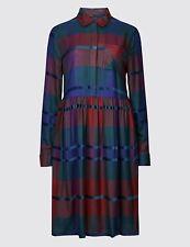 M&S Checked Drop Waist Dress Sizes 8/10/14/24