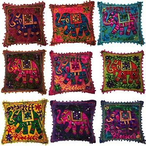Indian Bohemian Elephant Mirror Cushion Covers Embroidered Mirror Pom Pom 40 cms