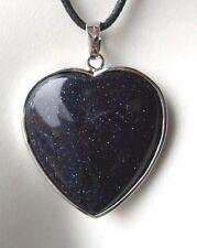 Edelsteinanhänger, Blaufluss Herz, eingefasst ca 3,3 cm Kette, Schmuck Heilstein