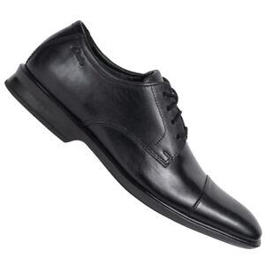 Clarks Bensley Cap Casual Herren Business eleganter Lederschuhe schwarz neu