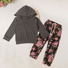 Newborn Baby Girl Boy Floral Tracksuit Top Hoodie + Pants Outfits Clothes Set