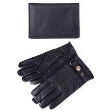 Barbour Black Leather Glove and Cardholder Gift Set