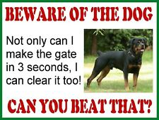 VINTAGE STYLE RETRO METAL PLAQUE ; Beware of the Dog ( Rottweiler ) Ad/Sign
