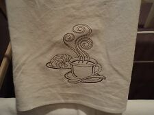 Set of 2 Coffee and Croissant Floursack Dishtowel ~machine embroidered
