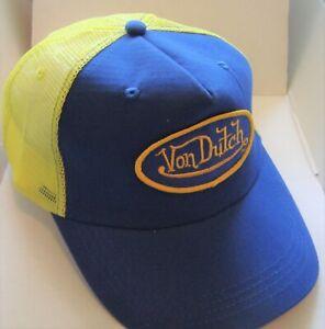 Vintage Von Dutch Mesh Trucker Biker Snap back Hat Cap Adjustable  BLUE YELLOW