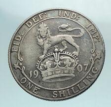1907 Great Britain Edward Vii Uk Antique Genuine Silver Shilling Coin i79540