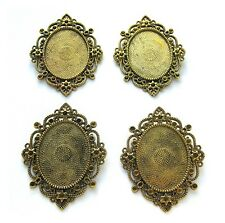 4 Antiqued BRONZE IMPERIAL 40mm x 30mm CAMEO Costume PENDANTS Frame Setting