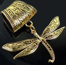 Scarf Pendant Antique Gold Pewter Dragonfly Flight  Slide