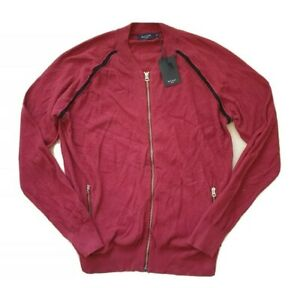 PAUL SMITH JUMPER ZIP TOP CLARET RED 100% COTTON TEXTURED SIZE M (44) RRP £180