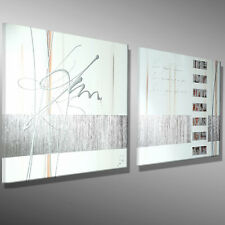 BILDER KUNST 130x50 SILBER 3D Acrylbild MALEREI Leinwand original abstrakt MICO