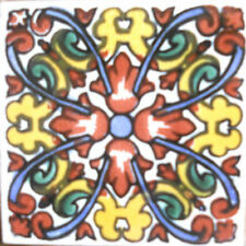 #C099) Mexican Tile sample Ceramic Handmade 4x4 inch, GET MANY AS YOU NEED !!