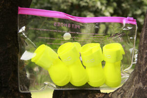 4pcs/set Waterproof Pet Dog Shoes Rubber Anti Slip Rain Boot Puppy Cat Rain Boot
