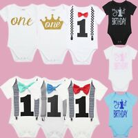 Baby My 1st Birthday Romper Infant Girls Boys Cake Smash Bodysuit Party Outfits