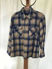 Pendleton Vintage Board Shirt Loop Collar Wool Shadow Plaid M