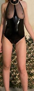 Body Simili Cuir Noir Ouvert Sexy Lingerie Femmes S-M Sexy Erotique Transparent