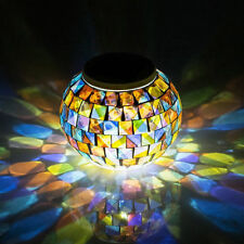 Solar Mosaic Glass Globe Colour Changing Ball Table LED Light Outdoor Garden