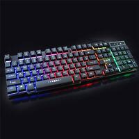 USB Wired Mechanical PC Gaming Multimedia Keyboard illuminated LED Backlight