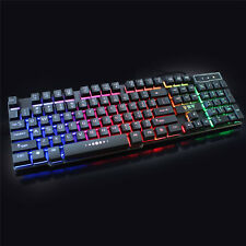 Multimedia 3 colors illuminated LED Backlight USB Wired PC Gaming Keyboard Cool