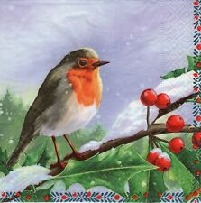 4x PAPER NAPKINS for Decoupage CHRISTMAS ROBIN BERRY
