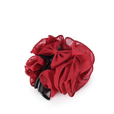 Fashion Womens Chiffon Rose Flower Bow Jaw Clip Barrette Hair Claw Gift Hot Y HL Black