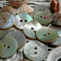 100PCS Natural Mother of Pearl Round Shell 2 Holes Sewing Buttons 10mm NT