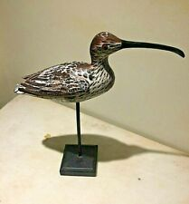 Vintage wood hand Sculptured and painted folk art Long Billed Curlew Shore Bird