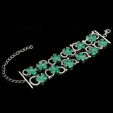 NATURAL EMERALD BRACELET ~ WHITE GOLD/ 925 STERLING SILVER,  7 to 7.5""
