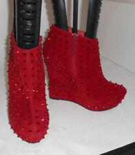 Stivali e stivaletti da donna zeppe rossi in camoscio sintetico