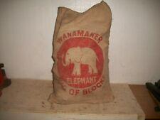 Ca.1910 Antique Victorian Bag Of Wooden Building Blocks John Wanamaker Elephant