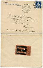 More details for switzerland 1911 theatre jorat advertising label on hotel des bergues geneva env