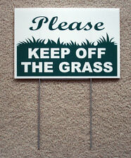 "Please Keep Off The Grass 8""X12"" Plastic Coroplast Sign with Stake New"