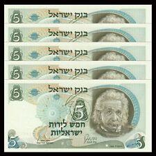 Lot 5 PCS, Israel 5 Lirot, 1968, P-34, UNC, Banknotes