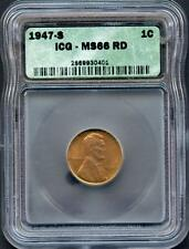 UNITED STATES  1947S LINCOLN CENT GRADED  ICG MS66 RD