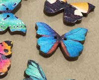 6 Butterfly Wooden Buttons 27mm W0022 Aussie Seller