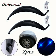 2XCar Fenders Wheel Eyebrow Protector Stickers w/ Blue LED Light 58cm Streamline