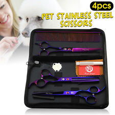 """7"""" Pet Dog Cat Fur Grooming Scissors  Straight & Thinning & Curved Shears Comb"""