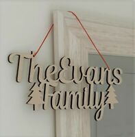 Christmas Door Sign Personalised Family Decoration Xmas Gift 30cm x 15cm