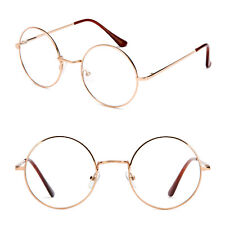 "Clear Lens Glasses ""John Lennon"" Circular Inspired  Round Brown Temple Beatles"