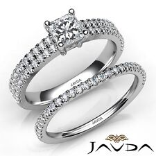 2ctw Classic Bridal Set Princess Diamond Engagement Ring GIA F-SI1 Gold