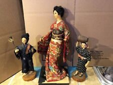 Vintage Asian Japanese Doll Shuri Woman's Handicraft Club Okinawa onLacquer Base