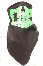 Skull jaw green fleece motorcycle mask fierce face protection