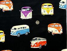 VW Camper vans on black fq 50cm x 56cm 100% Cotton Nutex 87020-102