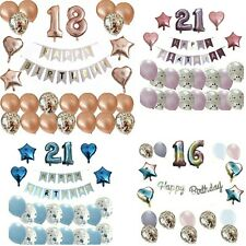 HAPPY BIRTHDAY FOIL BALLOONS NUMBERS DECORATIONS CONFETTI BANNER BOYS GIRLS