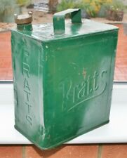 """Vintage 1920's """"PRATTS"""" 3/- 2 Gallon Petrol/Oil Can with """"SHELL"""" Brass Cap"""