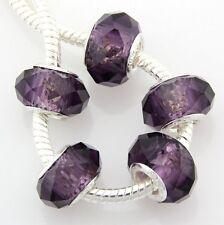 50pcs Purple Glass Crystal Big Hole Beads Fit European Charm Bracelet Z17